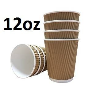 100-X-12oz-360ml-Kraft-triple-walled-disposable-paper-ripple-cups-by-Halma