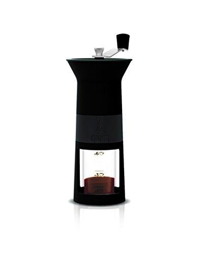 Bialetti DCDESIGN03 Macinacaffe Hand-Espressomühle mit Keramikscheibenmahlwerk, schwarz