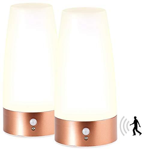 Lunartec Lampen Batterie: 2 LED-Tischlampen mit PIR-Bewegungs-Sensor, Batteriebetrieb, warmweiß (Tisch-Nachtlicht mit PIR Sensor)