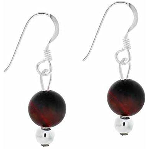 6 mm, in argento Sterling, motivo: Red Tiger Eye-Orecchini pendenti con perline