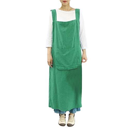 AZZRA Frauen Baumwolle Leinen Pinafore Square Cross Schürze Gartenarbeit Pinafore Kleid 2019 Damen Kleid gestreift Ärmelloses Freizeitkleid Rundhals festlich Abendkleider - Square Dance Kostüm Übergröße