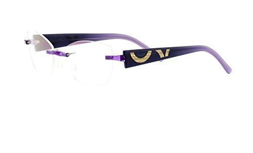 Switch it! Combi 2176 Brille Montur Wechselbrille Garnitur – blau-lila mit Holzeinlage