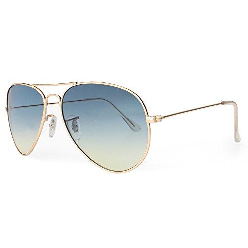 DISTRESSED Flat Aviator Pilotenbrille Sonnenbrille Fliegerbrille 2250 - petrol/gelb Verlauf