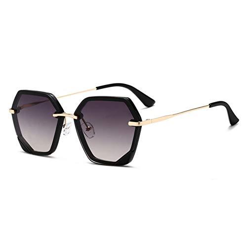 Taiyangcheng Polarisierte Sonnenbrille Vintage Unregelmäßige Sonnenbrille Frauen Markendesigner Randlose Gradienten Sonnenbrille Männer Weibliche Metallbeine Uv-Schutz,goldgrau