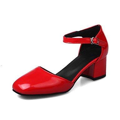 LvYuan Da donna Sandali Vernice Primavera Autunno Footing Fibbia Quadrato Bianco Nero Grigio Rosso 2,5 - 4,5 cm ruby