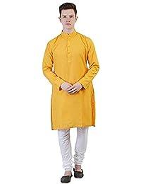 Himashu Handlooms Men's Cotton Long Kurta (Yellow)