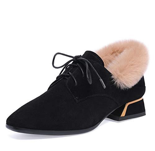 GDXH New Boots Früher,Damenschuhe Faux Plüsch Lederschuhe Winter-Lace-up Mokassins Damen Blockabsatz Loafer für 2019 Neu,Schwarz,35EU -