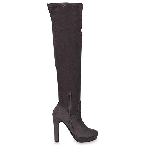 Napoli-fashion Imbottite Da Donna Overknees Allungano Gli Stivali Stiletto Jennika Grigi