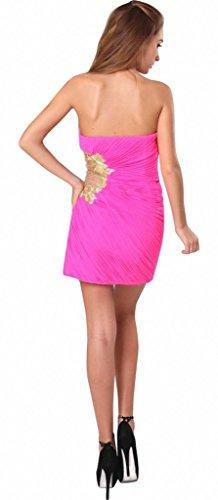 drasawee Damen Trägerlos Slim Kurz Chiffon Abend Cocktail Party Kleid Rot - Rot