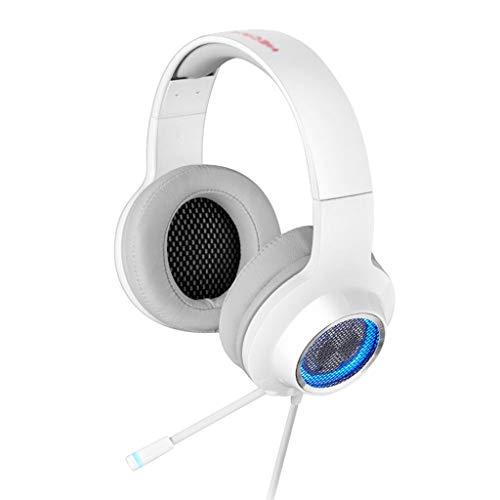 Auricular Ordenador Auricular Juego Interfaz USB Auricular Micrófono retráctil (Color : White)