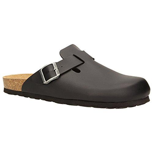 Zweigut Hamburg- Komood #394 Hausschuhe Herren Pantolette Bio Schlappen Clogs Leder-Komfort-Fußbett Puschen Pantoffeln Latschen, Schuhgröße:41, Farbe:Schwarz (Komfort-clogs)