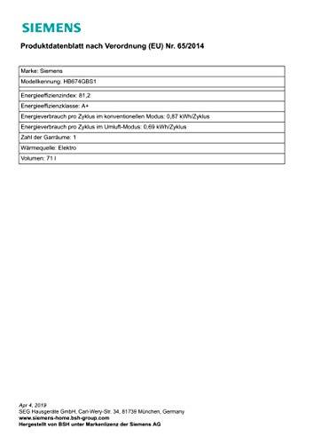 Siemens iQ700 HB674GBS1 Backofen A+ (3.6 kW, 4D Heißluft, Ober-/Unterhitze, Edelstahl) Titan-Glanzemail anthrazit - 3