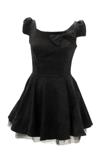 Ultima. Little Black Dress in cotone damascato floreale broccato con sottogonna. Taglia 10 Black 38