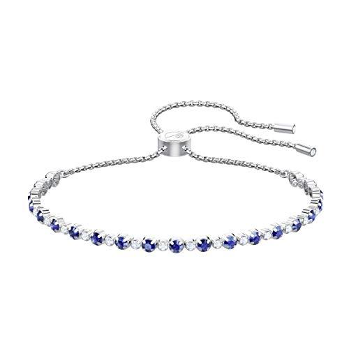 Swarovski 5465383 braccialetto subtle, azzurro, placcatura rodio