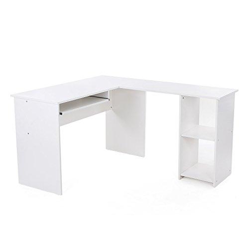 SONGMICS Schreibtisch großer Computertisch, Stabiler Eckschreibtisch, PC-Tisch, erleichterte Montage, 140 x 120 cm, Winkelkombination, BüRotisch mit 2 Ablagen und Tastaturauszug, Weiß LCD810W