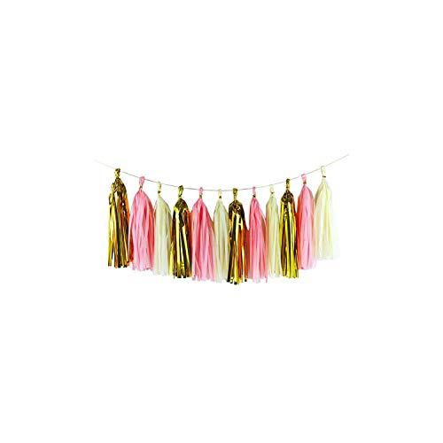 Archiba 15pcs / Set Mix Farbe Seidenpapier Quaste Garland DIY Geburtstag Partydekoration Papierblumen Bastelbedarf Hochzeitsdekoration, T07