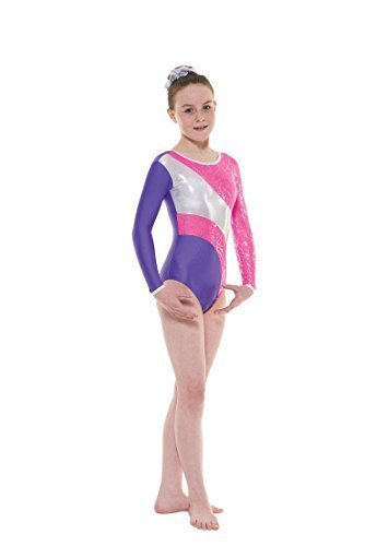 Tappers & Pointers GYM38 Long Sleeved Foiled Nylon Lycra Leotard (Pink/Purple, 6-8 Years)