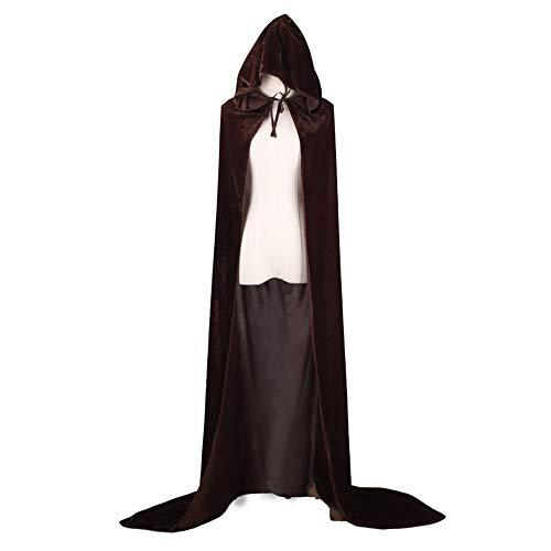 GIFT ZHIZHUXIA Halloween Cape Unisex Ganzkörperansicht Samt Cape Mit Kapuze Cape Cosplay Kostüm für Erwachsene Weihnachtsfeier Kleid Requisiten (Farbe : Brown, größe : ()