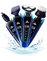 Sungao 4 in 1 Waterproof Electric Razor Kit with Charging Stand for Men Beard Nose Hair Trimmer Facial Cleaning Brush Sideburn Hair Clippers Blue by Sungao