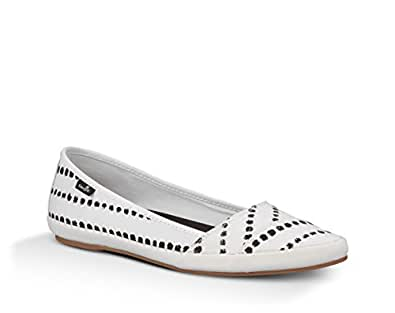 ... Sanuk Womens Kat Prowl Prints Slip-On Loafer White Black Dots 8.5 B(M)  US 8f0367403