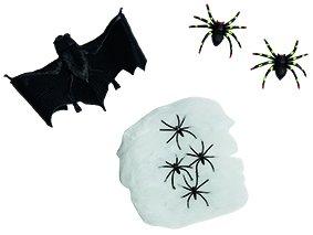 (Halloween-Set - Spinnennetz mit Fledermaus und 6 Spinnen als Halloweendeko oder Kostümzubehör)