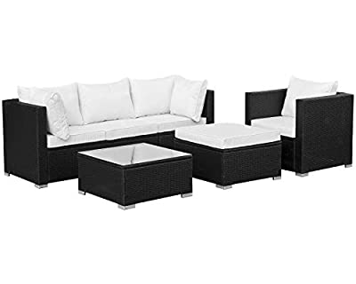 Polyrattan Lounge Sitzgruppe Gartenmöbel Garnitur Poly Rattan 4 Sitzplätze