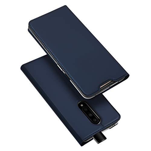 DUX DUCIS Hülle für Oneplus 7 Pro, Leder Flip Handyhülle Schutzhülle Tasche Case mit [Kartenfach] [Standfunktion] [Magnetverschluss] für Oneplus 7 Pro (Blau)