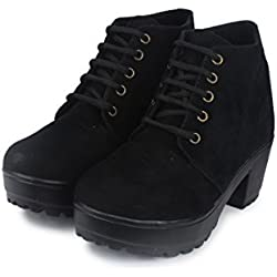 Do Bhai Stylish Boot-MSD Heel Shoes For Women (Euro37, Black)