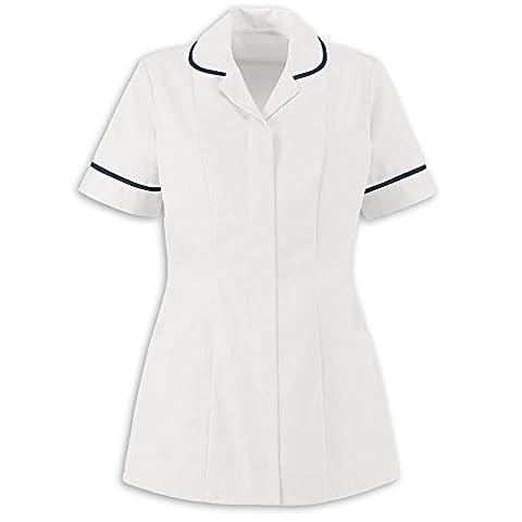 Mesdames Uni Healthcare infirmière Esthéticienne Tuniques Uniforme Convient pour produits, Multicolore - White With Navy Trim, 46
