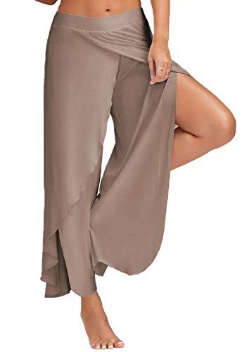 FITTOO Pantaloni Yoga da Donna Larghi Harem Pants per Sport Gym Fitness, Cachi, M