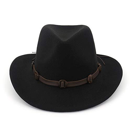JCH Fedora Trilby Homburg Wool Cotton Polyster Coppia Jazz Hat Western Cowboy Cappello di Lana Cravatta Fibbia per Le Donne (Color : 3, Size : 56-58cm/22-23in)