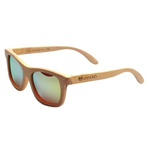 Iwood Handcrafted Moda de bambú Natural Marcos Amarillo lente polarizada Gafas de sol de madera