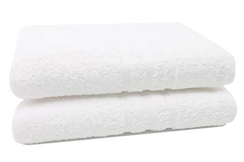 Zollner 2 pezzi asciugamani da bagno grandi, 100x150 cm bianco, 100% cotone