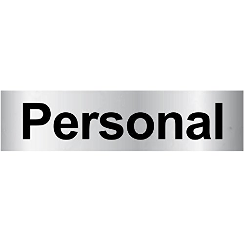 "Türschild PVC Hinweisschild ""Personal"" 160mm x 40mm Silber/Schwarz selbstklebend"