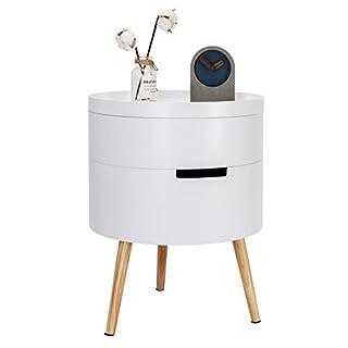 WOLTU Beistelltisch TS50ws-1 Nachttisch Nachtkommode Nachtschrank Sofatisch, mit Stauraum, mit Beinen, Holz, MDF, Weiß, 38x38x49cm(BxTxH)