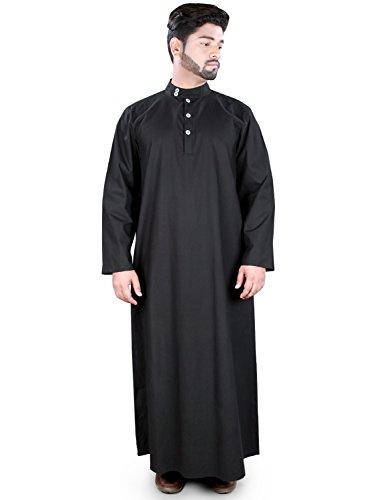 MyBatua Negro algodón Saadah Galabiyya, Dishdasha árabe, Thobe GM-028 (L)