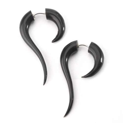 81stgeneration Schwarz geschnitzt 16g Stammes organische Horn Knochen Ohrringe Paar