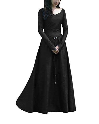 Donne abito medievale cosplay costume fancy dress maxi abiti nero m