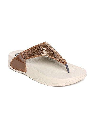 WELCOME Women's Darkcopper Leather Flip-Flop...