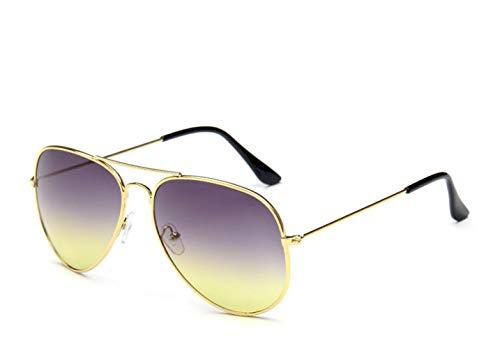 HUWAIYUNDONG Sonnenbrillen,Fashion MetalPilot Sonnenbrille Damen Classic Double Ocean Gläser Gold Frame Rot Orange Gläser Gold-Grau Gelb