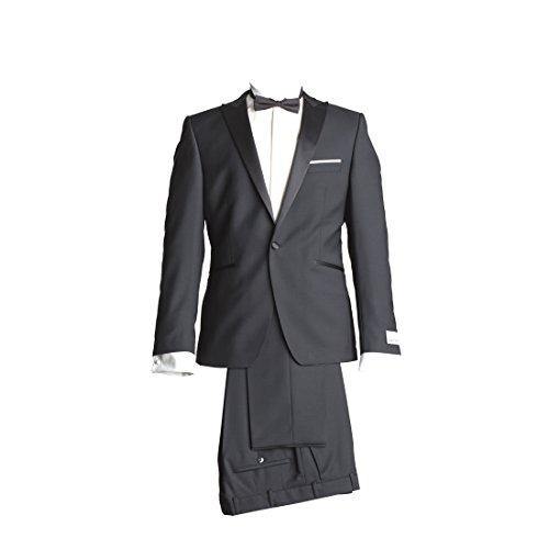 WILVORST Anzug Smoking Sakko Smoking Hose ohne Bundfalte Schwarz Drop8 Extra Schmal Tailliert Geschnitten Runder Schalkragen 84% Wolle 16% Mohairwolle 230g 54 (Schalkragen-hosen-anzug)