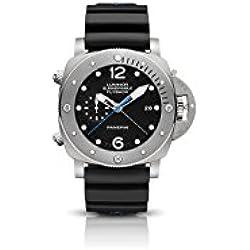 Panerai Luminor 1950sumergible correa de caucho de color negro titanio hombres del reloj pam00614