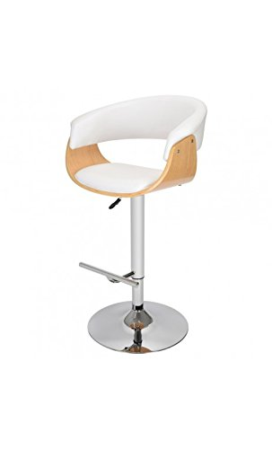 La Chaise Longue 34-2M-004W Fauteuil de Bar en Forme Oslo Polyuréthane Blanc 47 x 91,2 x 112,2 cm