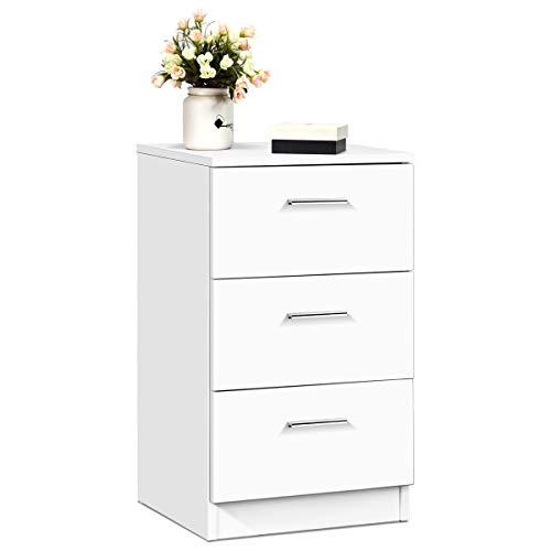 COSTWAY Nachttisch Bett, Nachtkommode Holz, Nachtkonsole mit Schubladen, Beistelltisch Farbewahl (weiß)