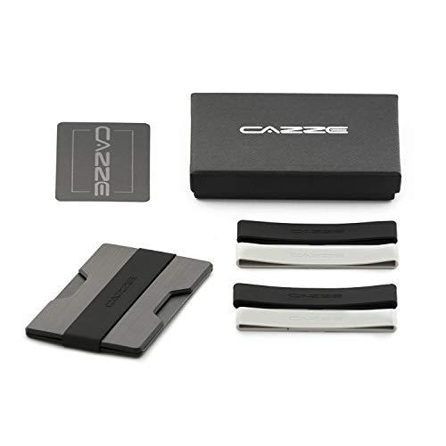CAZZE Kreditkartenetui mit RFID ● Portemonnaie NFC Schutz für bis zu 14 Karten ● Slim Wallet mit Geldklammer, Unisex ● Smarte und minimalistische Alternative zu Portemonnaie und Geldbeutel - Griff-abend-geldbeutel