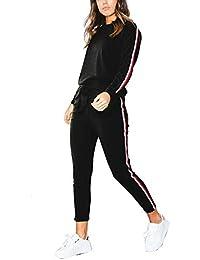MYSHOW Femme Rainbow Stripe Jogging Suit Deux Pièces Survêtement ... 0d1f91e9a61