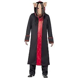 Smiffys Licenciado oficialmente Costume SAW Pig, Noir, avec masque et robe à capuche