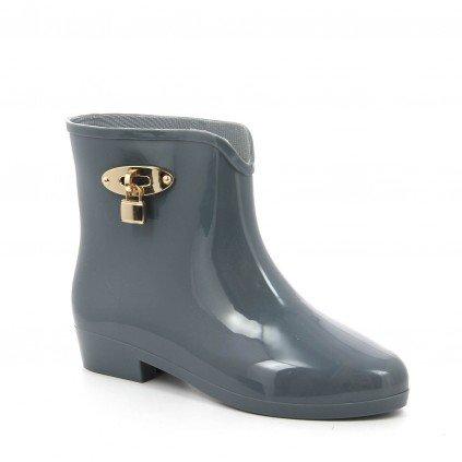 Ideal Shoes - Bottines de pluie avec ornement serrure Oceane Beige