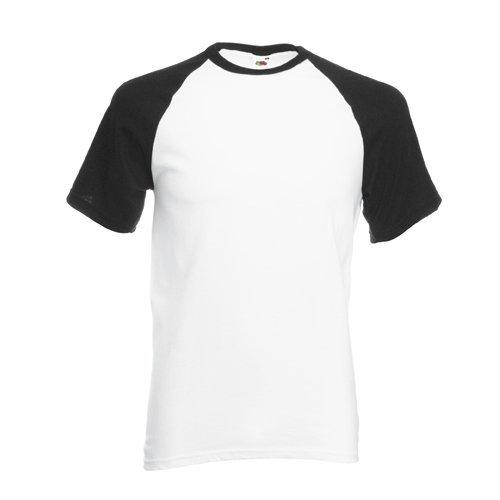 Shortsleeve Baseball T-Shirt von Fruit of the Loom WeissSchwarz L
