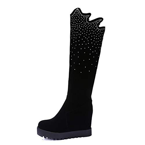 ZPFMM Damen Oberschenkel Hoch Plattform Reißverschluss Niedrige Ferse Party Stiefel,Black-EU:34=5B(M) US -